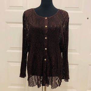 NWT Coldwater Creek Brown Crochet Cardigan XL